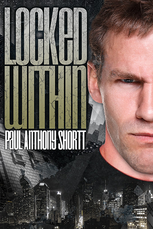 "Image shows the right half of a man's face, looking sternly at the reader, superimposed over images of New York City. The title ""Locked Within"" is in cracked green letters."