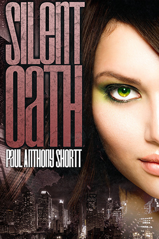 "Image shows the right half of a woman's face, looking at the reader, superimposed over images of New York City. The title ""Silent Oath"" is in cracked pale pink letters."