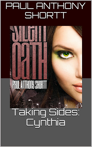 Image shows the cover of Silent Oath with a two-tone border; burgundy on top and grey on bottom.