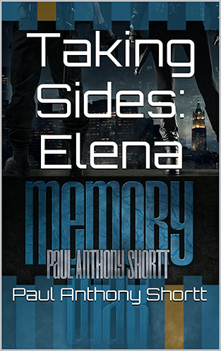 Image shows the cover of Memory War with blue and gold columns framing the top and bottom.